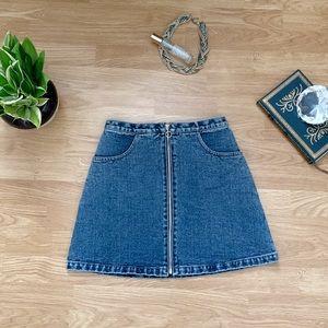 Vintage denim zipper miniskirt